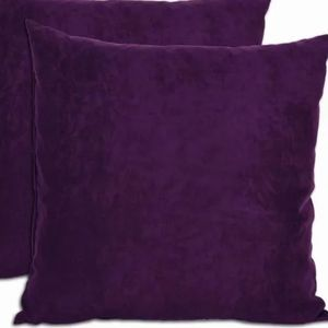 2 purple microsuede pillow covers